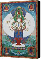 Thangka Canvas Prints - Avalokiteshvara Lord of Compassion Canvas Print by Sergey Noskov