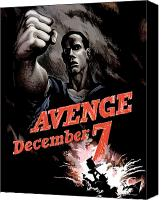 Us Navy Canvas Prints - Avenge December 7th Canvas Print by War Is Hell Store