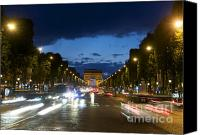 Ile De France Canvas Prints - Avenue des Champs Elysees. Paris Canvas Print by Bernard Jaubert