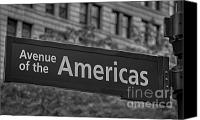 Signs Canvas Prints - Avenue of the Americas Canvas Print by Susan Candelario