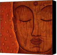 Tibetan Mixed Media Canvas Prints - Awakened Mind Canvas Print by Gloria Rothrock