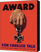 Talk Canvas Prints - Award For Careless Talk Canvas Print by War Is Hell Store