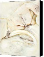 Contemplative Drawings Canvas Prints - Award Winning Abstract Nude Canvas Print by Kerryn Madsen-Pietsch