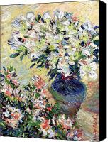 Arrangement Painting Canvas Prints - Azaleas Canvas Print by Claude Monet