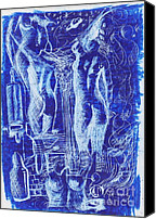 Galleria Drawings Canvas Prints - Azul 08 Canvas Print by Marcos