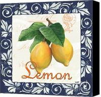 Lemon Painting Canvas Prints - Azure Lemon 1 Canvas Print by Debbie DeWitt