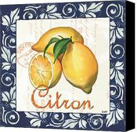 Lemon Painting Canvas Prints - Azure Lemon 2 Canvas Print by Debbie DeWitt