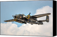 Warbird Photo Canvas Prints - B-25 Georgies Gal Canvas Print by Bill Lindsay