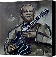 Blues Guitar Canvas Prints - B B King Canvas Print by Pete Maier