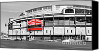 Cubs Canvas Prints - B-W Wrigley Canvas Print by David Bearden