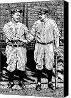 Babe Ruth Drawings Canvas Prints - Babe and Lou Canvas Print by Bruce Kay