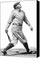 Babe Ruth Drawings Canvas Prints - Babe Pops Up Canvas Print by Bruce Kay