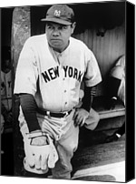 New York Yankees Canvas Prints - Babe Ruth In The New York Yankees Canvas Print by Everett