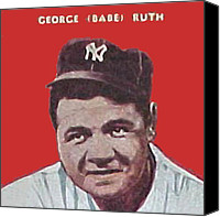 Babe Ruth Drawings Canvas Prints - Babe Ruth Canvas Print by Paul Van Scott