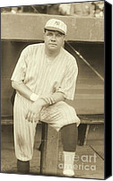 Baseball Players Canvas Prints - Babe Ruth Posing Canvas Print by Padre Art