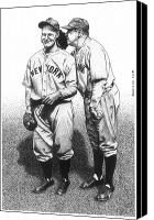 Babe Ruth Drawings Canvas Prints - Babe Tells a Joke Canvas Print by Bruce Kay