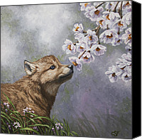 Dogs Painting Canvas Prints - Baby Blossoms Canvas Print by Crista Forest