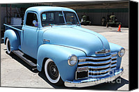Old Trucks Canvas Prints - Baby Blue 1951 Chevrolet 3100 Truck . 5D16564 Canvas Print by Wingsdomain Art and Photography
