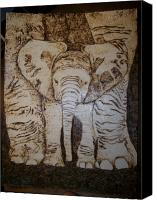 Portraits Pyrography Canvas Prints - Baby Elephant Pyrographics on Paper Original by Pigatopia Canvas Print by Shannon Ivins
