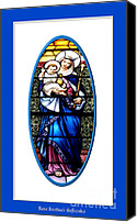 Queen Of Heaven Canvas Prints - Baby Jesus and The Queen of Heaven Stained Glass Window Canvas Print by Rose Santuci-Sofranko