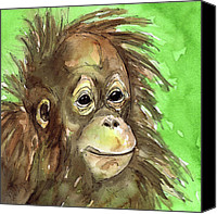 Orangutan Painting Canvas Prints - Baby orangutan wildlife painting Canvas Print by Cherilynn Wood