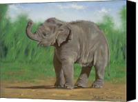 Elephant Pastels Canvas Prints - Baby Pathi Harn Canvas Print by Louise Green
