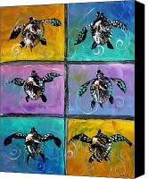 Original Art Canvas Prints - Baby Sea Turtles Six Canvas Print by J Vincent Scarpace