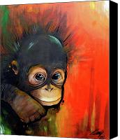 Orangutan Painting Canvas Prints - Babyface Canvas Print by Azlan Dulikab