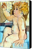 Cherub Canvas Prints - Babys Bath Canvas Print by Mindy Newman