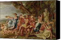 Mythological Canvas Prints - Bacchanal before a Herm Canvas Print by Nicolas Poussin
