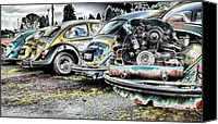 Rusted Cars Digital Art Canvas Prints - Back End Bugs Canvas Print by Jean OKeeffe