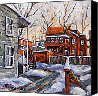 Quebec Painting Canvas Prints - Back Lanes 02 Montreal by Prankearts Canvas Print by Richard T Pranke