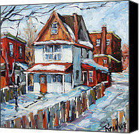 Prankearts Canvas Prints - Back Lanes Montreal by Prankearts Canvas Print by Richard T Pranke