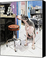 Great Dane Canvas Prints - Back Office Canvas Print by Debra Jones