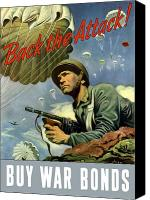 Vintage Canvas Prints - Back The Attack Buy War Bonds Canvas Print by War Is Hell Store