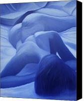 Female Nude Canvas Prints - Back to Blue III Canvas Print by Stephen Degan