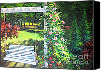 Diane Hewitt Canvas Prints - Backyard Swing Canvas Print by Diane Hewitt