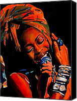 Singer Songwriter Painting Canvas Prints - Badu Canvas Print by Vel Verrept