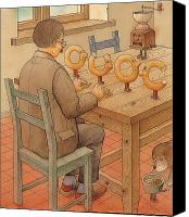 Kitchen Drawings Canvas Prints - Bagels Letters OUOC Canvas Print by Kestutis Kasparavicius