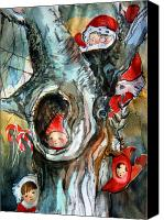Fairies Drawings Canvas Prints - Bah Humbug Tree Canvas Print by Mindy Newman