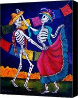 Dia De Los Muertos Canvas Prints - Bailando Canvas Print by Candy Mayer