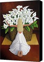 Blooms Painting Canvas Prints - BaileyRae Lilies Canvas Print by Lance Headlee