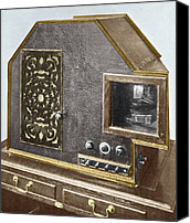 Tv Set Canvas Prints - Baird Televisor, Early Television Set Canvas Print by Sheila Terry