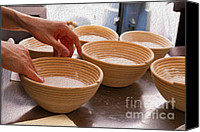 Wooden Bowls Canvas Prints - Baker Hands and Wooden Bowls Canvas Print by Jorge Malo