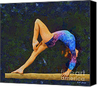 Gymnastics Painting Canvas Prints - Balance Beam Canvas Print by Elizabeth Coats