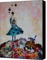 Moon Mixed Media Canvas Prints - Balancing Act Canvas Print by Sharon Cummings