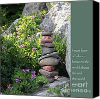 Zen Words Of Wisdom Canvas Prints - Balancing Stones with Tao Quote Canvas Print by Heidi Hermes