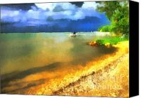 Creepy Painting Canvas Prints - Balaton shore Canvas Print by Odon Czintos