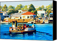 Woody Canvas Prints - Balboa Island Ferry Canvas Print by Frank Dalton