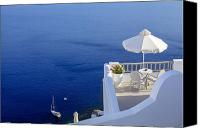 Greece Canvas Prints - Balcony Over The Sea Canvas Print by Joana Kruse